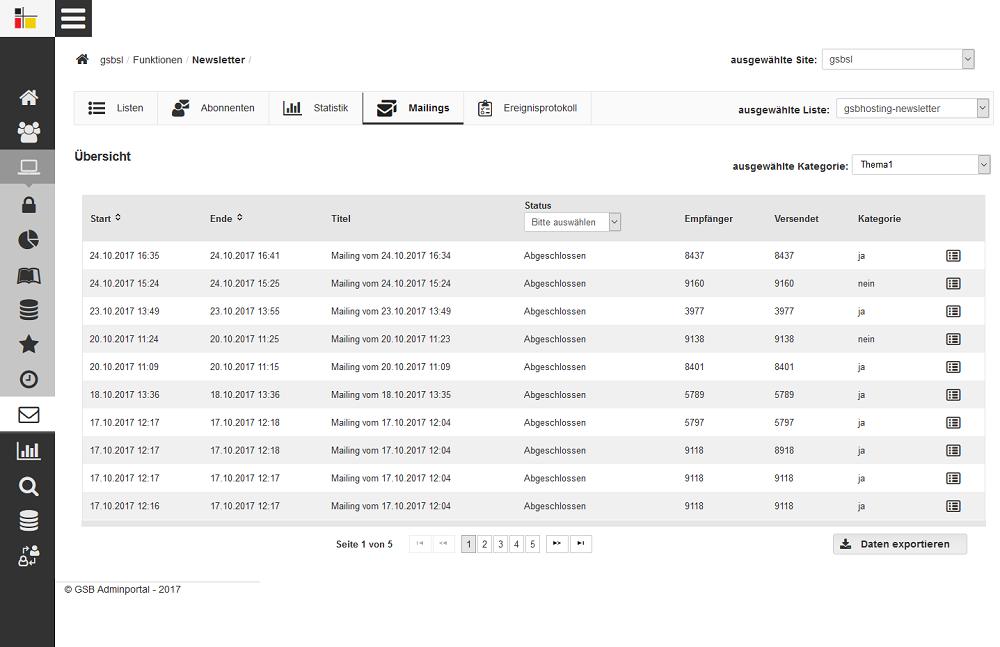 GSB Screenshot Übersicht über die Mailings einer Mailing-Liste