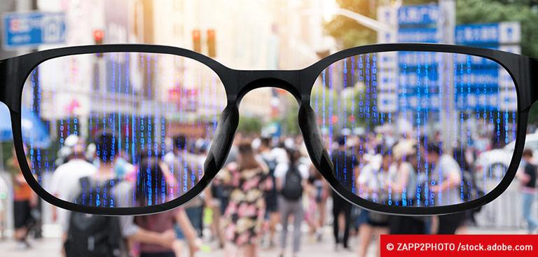 Smarte Brille mit Durchblick auf die Stadt